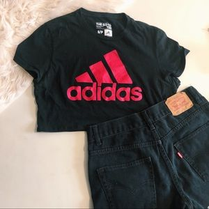 Adidas Black Pink Logo Crop Top